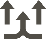 gray icon of arrows showing air flow
