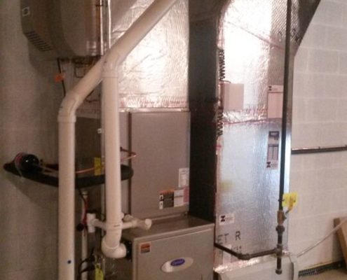 indoor gas with humidifier system in basement