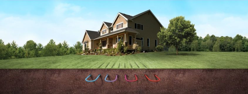 diagram of a house with a geothermal heat pump system