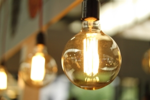 a lit lightbulb